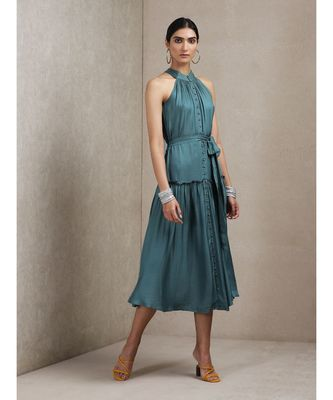 Teal Green Halter Neck Long Dress