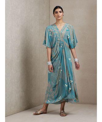 V Neck Half Sleeves Printed Dress