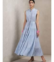 Powder Blue Self-Work Dress