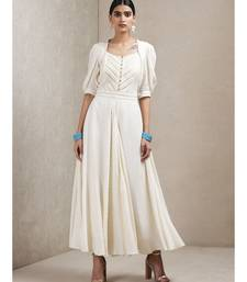 Off White Half Sleeves Long Dress