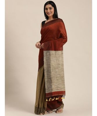 Brown Plain Cotton Handloom Sarees With Blouse