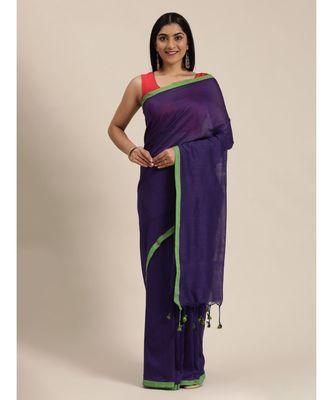 Purple Plain Cotton Handloom Sarees With Blouse