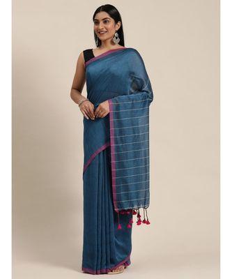 Blue Plain Cotton Handloom Sarees With Blouse