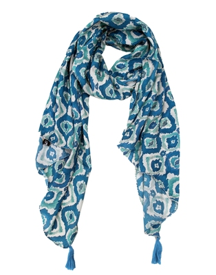 Dazzling Muslin Fabric Rama Blue Printed women scarf/Stoles
