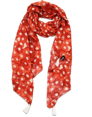 Splendid Muslin Fabric Orange Printed women scarf/Stoles