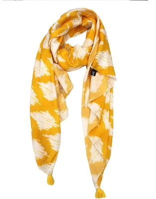 Stunning Muslin Fabric Yellow  Printed women scarf/Stoles