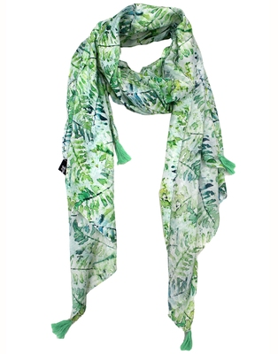 Elegant Muslin Fabric Green Printed women scarf/Stoles