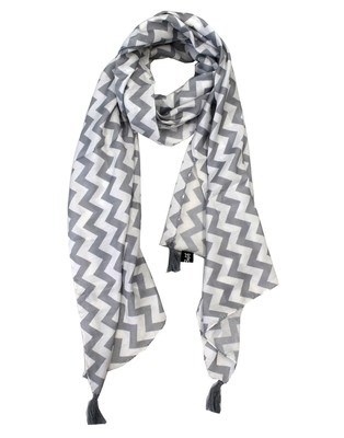 Classy Muslin Fabric Grey Printed women scarf/Stoles