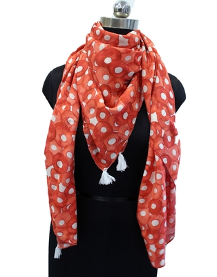 Splendid Muslin Fabric Orange Printed women SQUARE scarf/Stoles