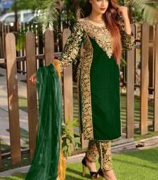 Dark Green Velvet Pakistani Salwar Kameez