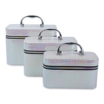 NFI essentials Makeup Bag Set of 3 Cosmetic Box Jewellery Bridal Box Trousseau Box Vanity Beauty Case Organizer (Pink)