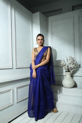 Blue Blended Silk Sequined Saree With Blouse