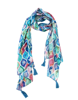 Classy Muslin Fabric Multicolor Printed women scarf/Stoles With Tassels