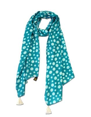 Splendid Muslin Fabric Blue Printed women scarf/Stoles With Tassels