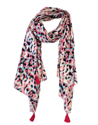 Pleasing Muslin Fabric Multicolor Printed women scarf/Stoles With Tassels