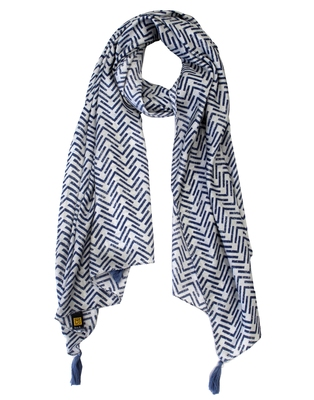 Stunning Muslin Fabric Navy Blue Printed women scarf/Stoles With Tassels