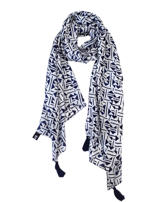 Alluring Muslin Fabric Navy Blue Printed women scarf/Stoles With Tassels