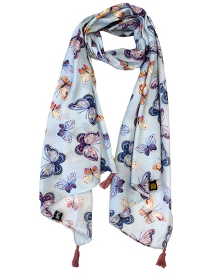 Appealing Muslin Fabric Multicolor Printed women scarf/Stoles With Tassels