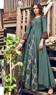 Teal-green printed jacquard long-kurtis