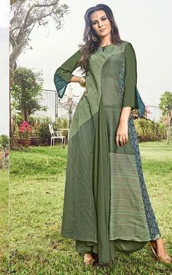 Green printed jacquard long-kurtis