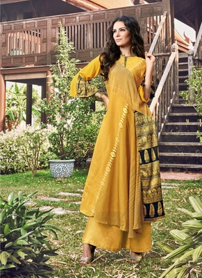 Yellow printed jacquard long-kurtis