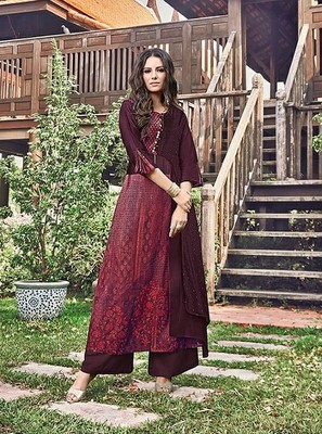 Wine printed jacquard long-kurtis