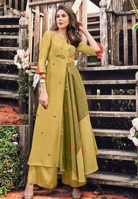 Light-mustard printed jacquard long-kurtis