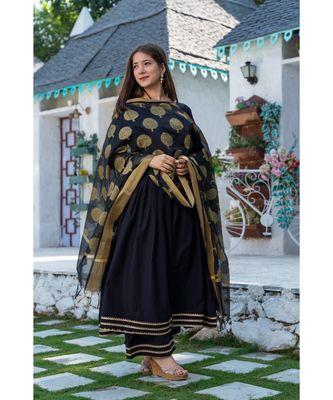 Black Cotton Kurta Set with Chanderi Dupatta