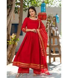 Royal Red Kurta Set with Chanderi Dupatta