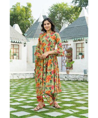 Multi colored Leaf Hand Block Print Kurta Set with Chanderi Dupatta