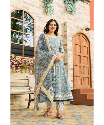 Steel Blue Kurta Dupatta Set with Chanderi Dupatta