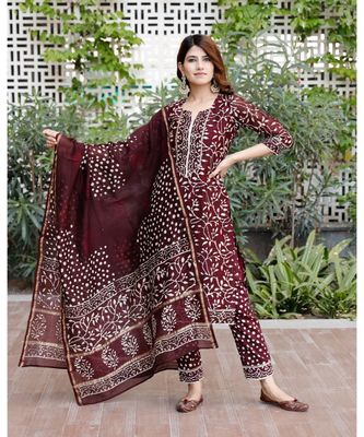 Burgundy bagru hand block print cotton kurta set with chanderi dupatta