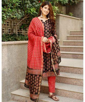 Piyu bagru black hand block print cotton kurta set with chanderi dupatta