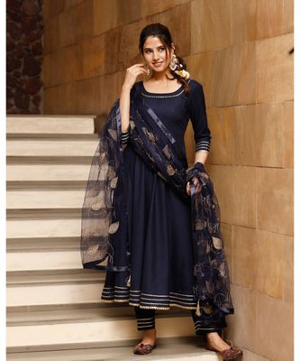 Blue solid gold kurta set with embroidered dupatta