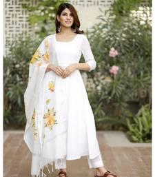 White flared cotton kurta set with hand paint chanderi dupatta