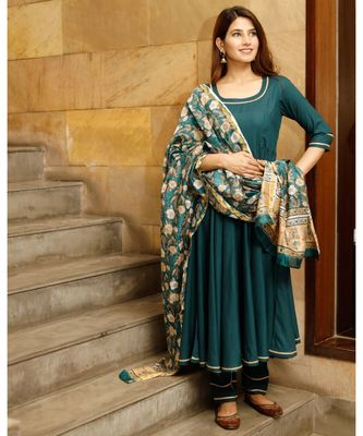 Teal green solid flared kurta set with hand block print chanderi dupatta