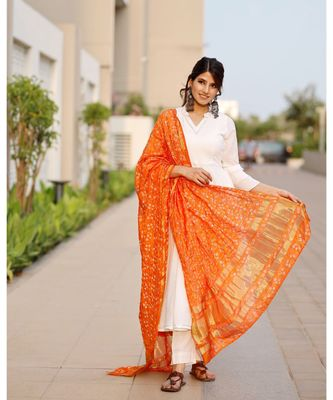 Bright white flared kurta set with bandej dupatta