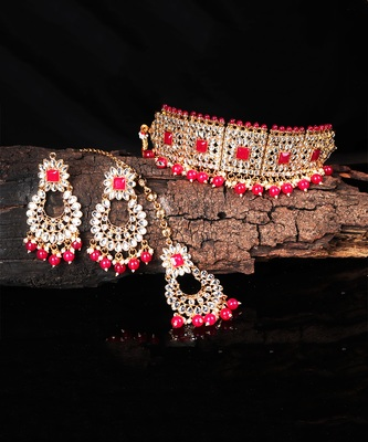 Bridal Kudan Choker Gold Plated Grey Necklace Set for Women
