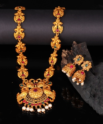 Red & Green Stone Studded Temple Jewellery Necklace Sets