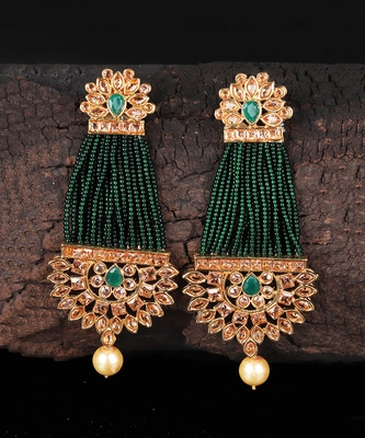 Green Beaded Traditional Design Earrings