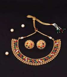 Multicolour Stone Studded Metallic Necklace Set