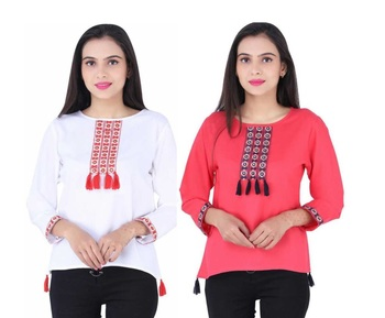 K2Creations Casual 3/4 Sleeve Embroidered Women Multicolor Top