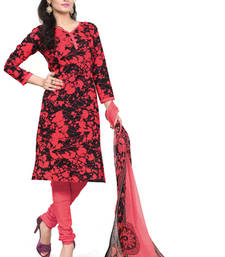 Buy Red & Black printed cotton poly unstitched salwar with dupatta party-wear-salwar-kameez online