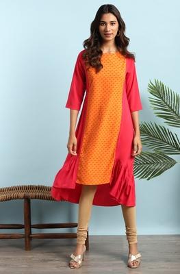 Orange printed crepe ethnic-kurtis