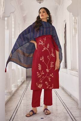 Red embroidered pure viscose salwar
