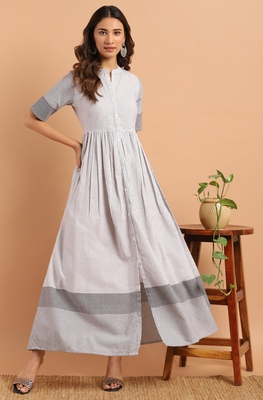 White woven cotton party-wear-kurtis