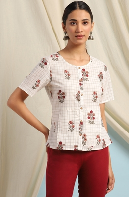Off-white printed cotton cotton-tops