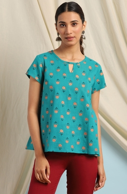 Teal printed cotton cotton-tops