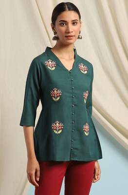 Green embroidered viscose rayon cotton-tops