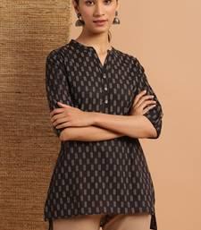Black printed cotton tunics